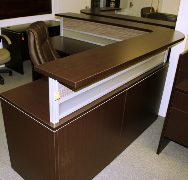 fice Source L Shape Reception Desk USED Desks