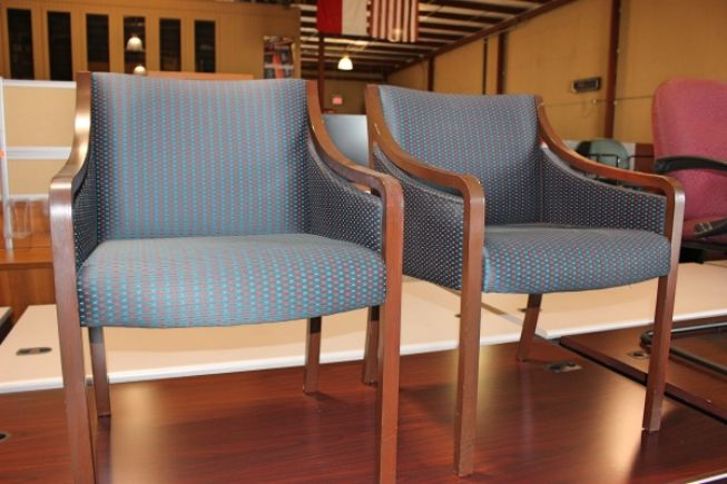 Wood And Fabric Guest Chairs